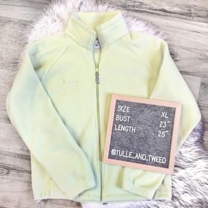 Columbia light green full zip fleece jacket XL EUC
